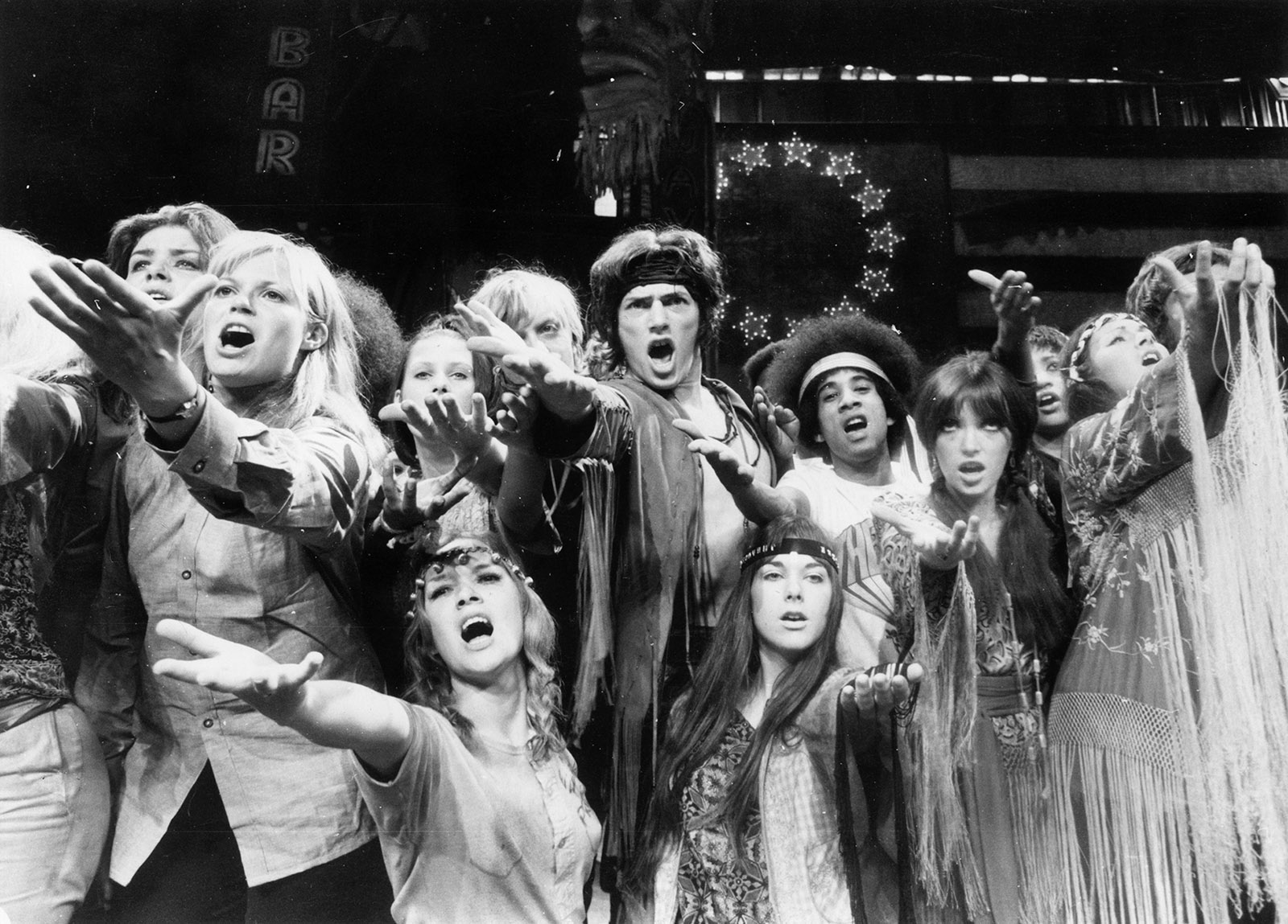 A rehearsal of the musical <i>Hair</i> at the Shaftesbury Theatre, London, September 1968