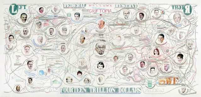 William Powhida: Griftopia, 2011; a ten-foot-wide 'visual translation' of the 2008 financial crisis based on Matt Taibbi's 2010 book of the same title